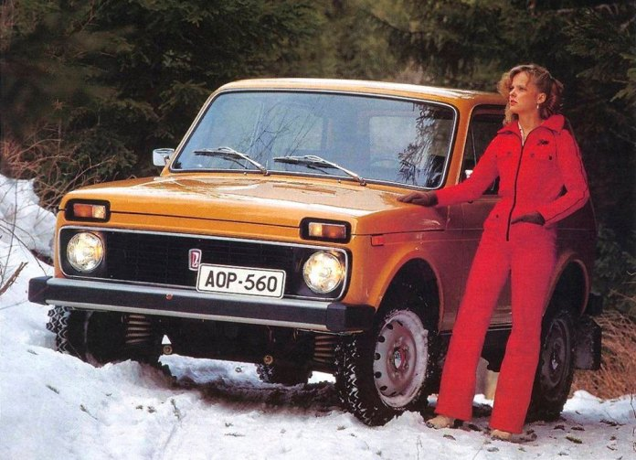 Lada chick in the snow