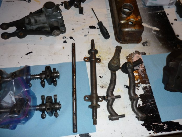 MGB parts on the workbench