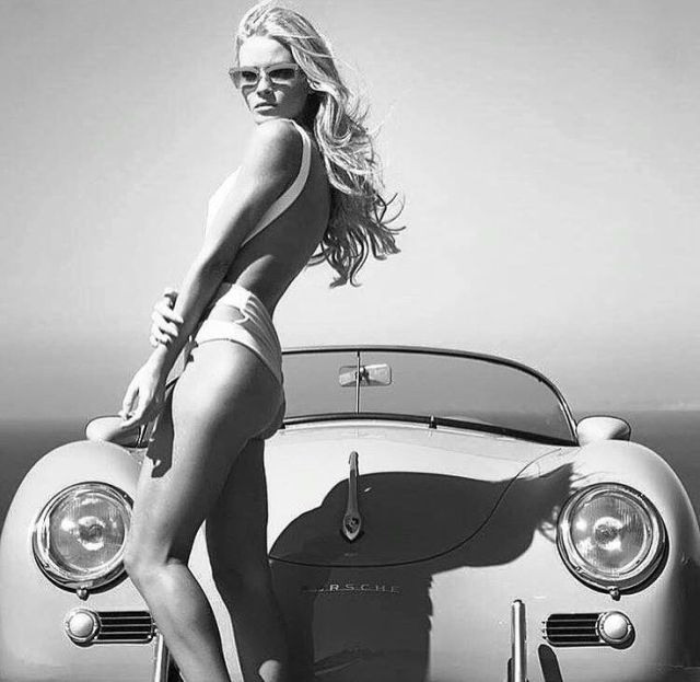 Pretty blonde with Porsche 356