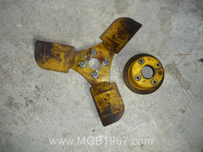 3 bladed MGB fan freshly painted