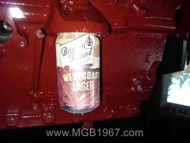 MGB engine beer can holder