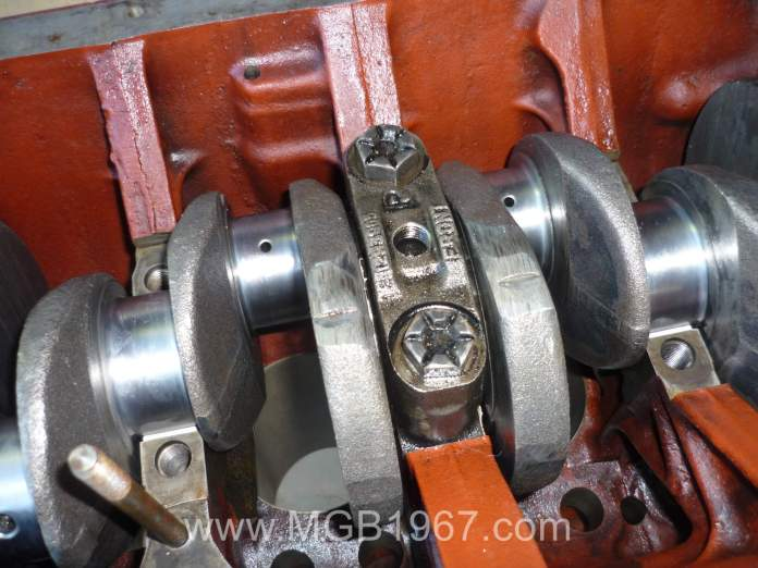 Center bearing installed with crankshaft MGB