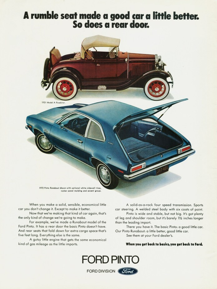 Ford Pinto with Ford Model A ad