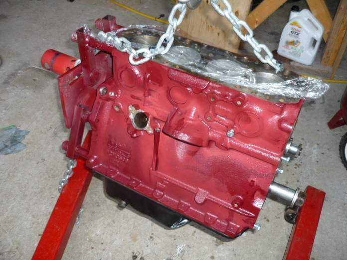 Heavy chain bolted to the MGB block