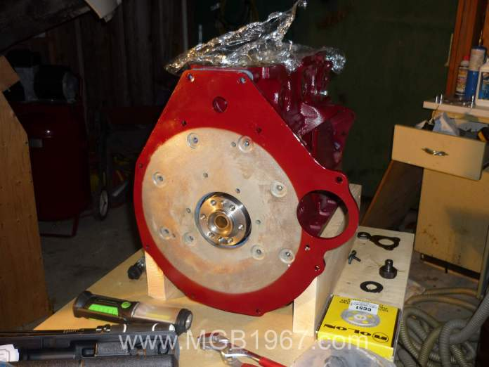 MGB engine with rear plate installed