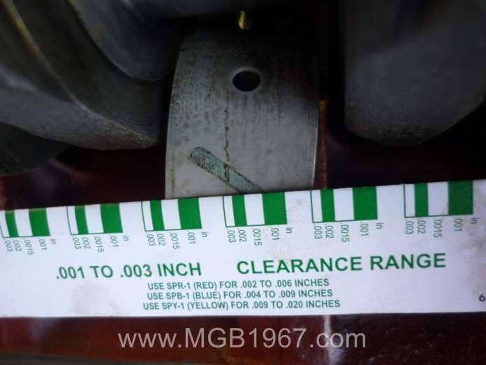 MGB main bearings checked with Plastigage