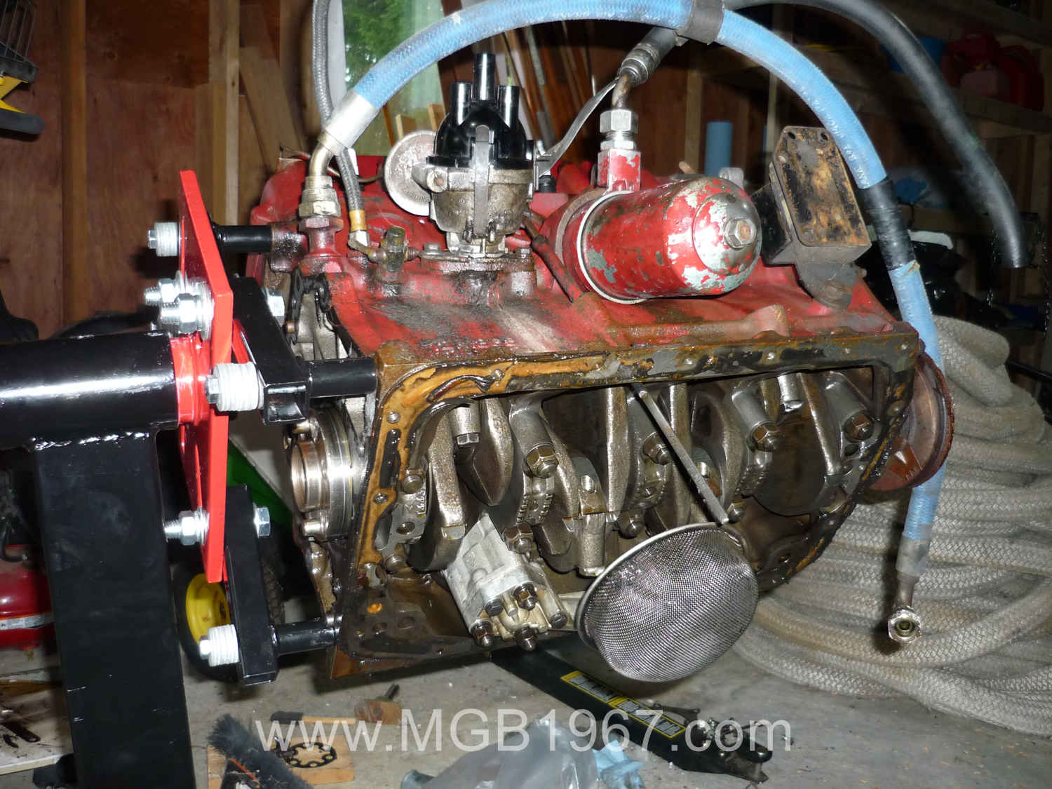 Freshly painted MGB GT engine