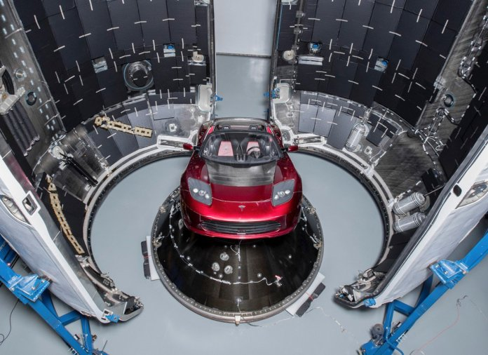 Tesla Roadster on Falcon Heavy Rocket