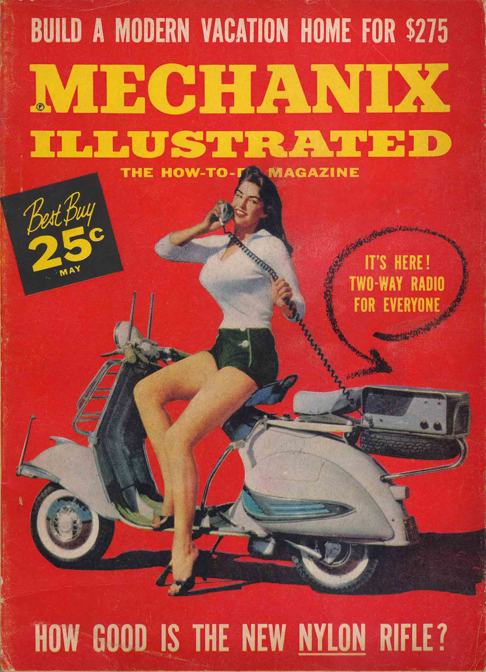 Two way radio Vespa girl on Mechanix Illustrated