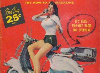 Two way radio Vespa girl on Mechanix Illustrated