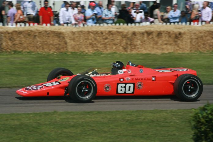 Lotus 56 with a Pratt & Whitney gas turbine engine and four wheel drive. Originally driven in the 1968 Indianapolis 500 by Joe Leonard.