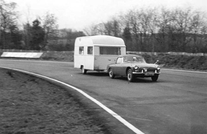 MGB pulling a British caravan