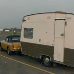 MGB pulling a travel trailer