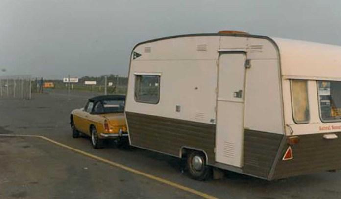 MGB pulling a travel trailer