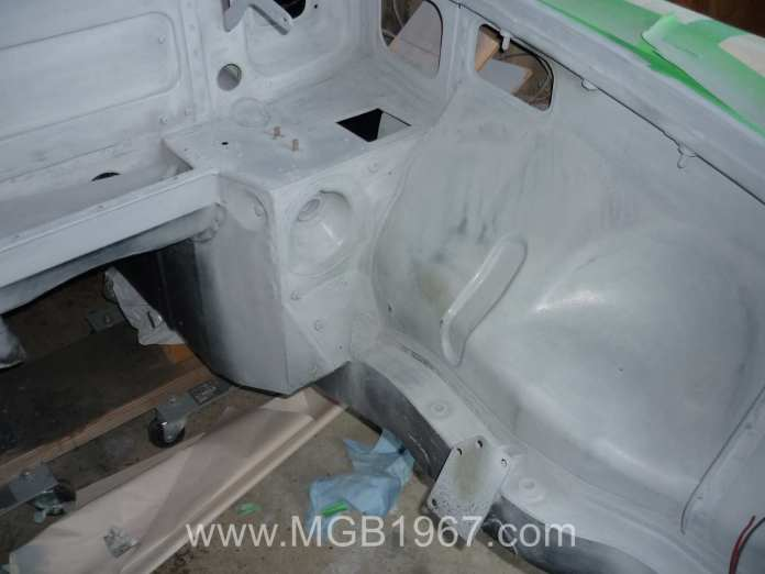 Primer in the MGB GT engine compartment
