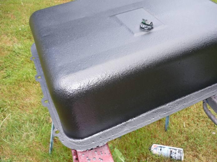 Undercoat applied to MGB fuel tank