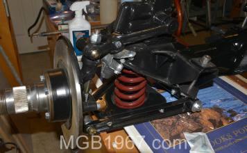 Rebuilt MGB GT front suspension