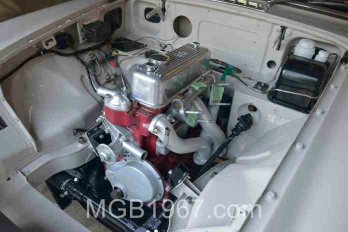 MGB GT engine looking good with some bling