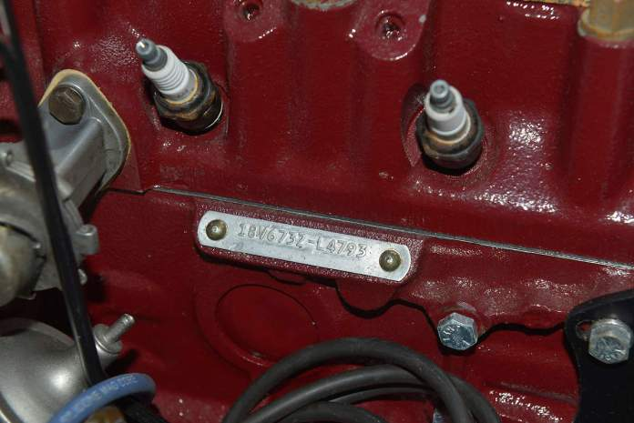 MGB 18V engine identification plate