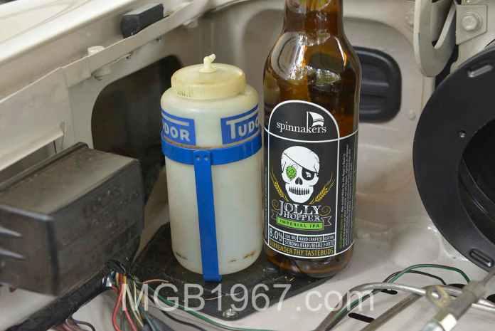 MGB GT celebration beer