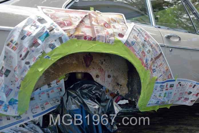 MGB GT rear wheelwell mask