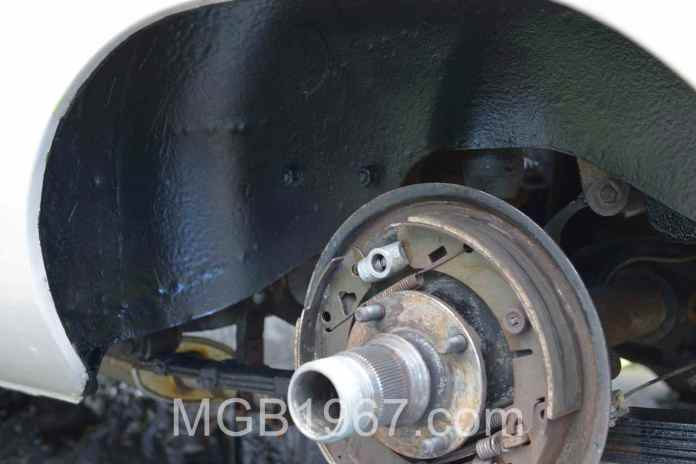 Painted MGB GT rear wheelwell