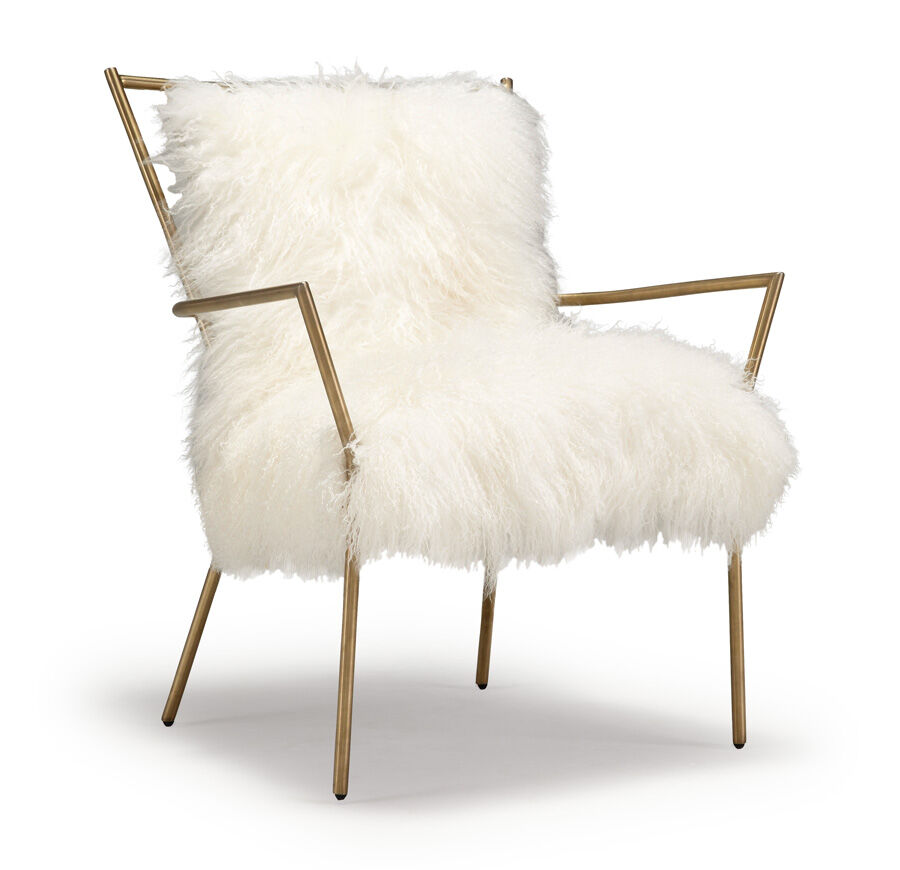 Furry Chairs Ansel White Tibetan Fur Chair