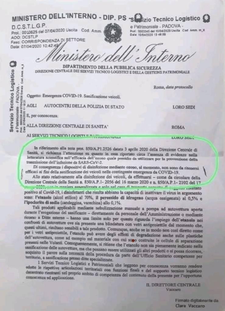 Disinfettanti coronavirus: la circolare del Ministero dell'Interno sui virucidi ammessi