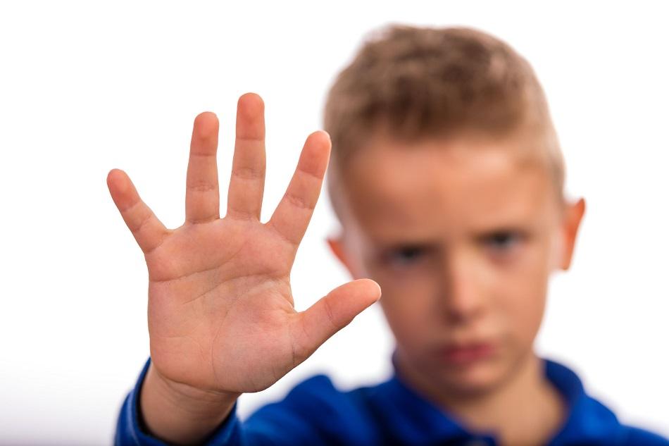Boy with raised hand
