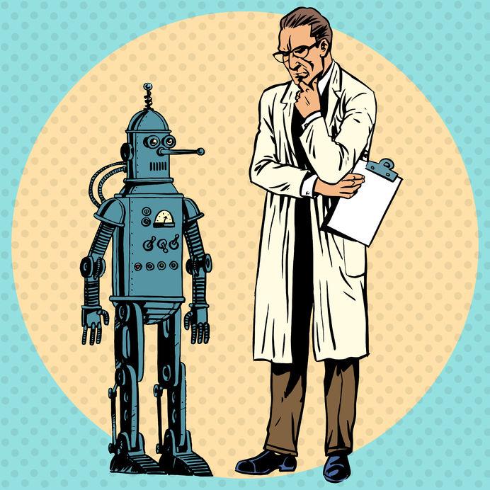 38422539 - professor scientist and robot. creator gadget retro technology