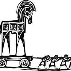 44199315 - woodcut style expressionist image of the greek trojan horse being dragged into troy.