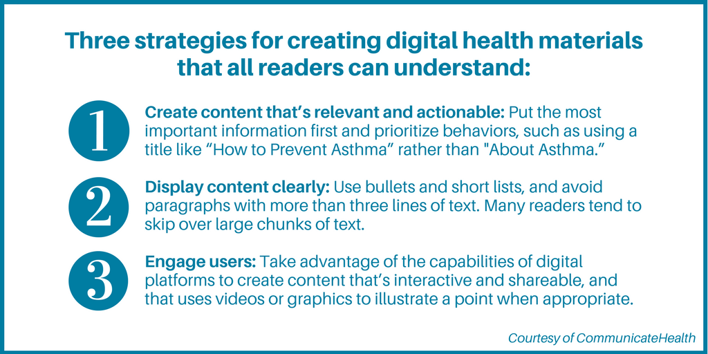Three health literacy strategies