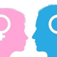 Silhouette images of a man and woman