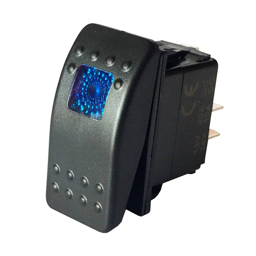 Paddle Toggle Switch Lighted Spst 20a 12vdc Blue