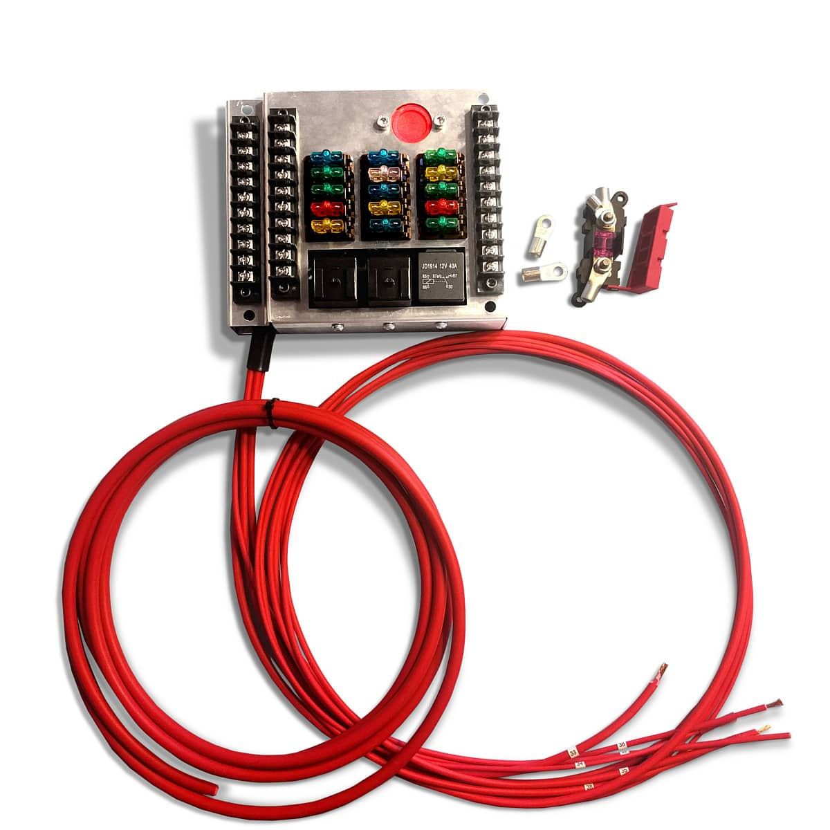 hight resolution of 12 volt universal fuse box with 15 fuses mgi speedware 15 circuit wiring harness diy