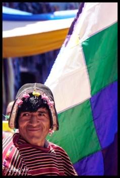 Tarabuco Man with Flag - Tarabuco