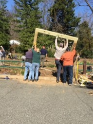 The arbor is positioned in place,