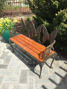 Decorative bench in the Butterfly Garden