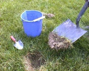 Bucket with spade and soil dug up for soil test