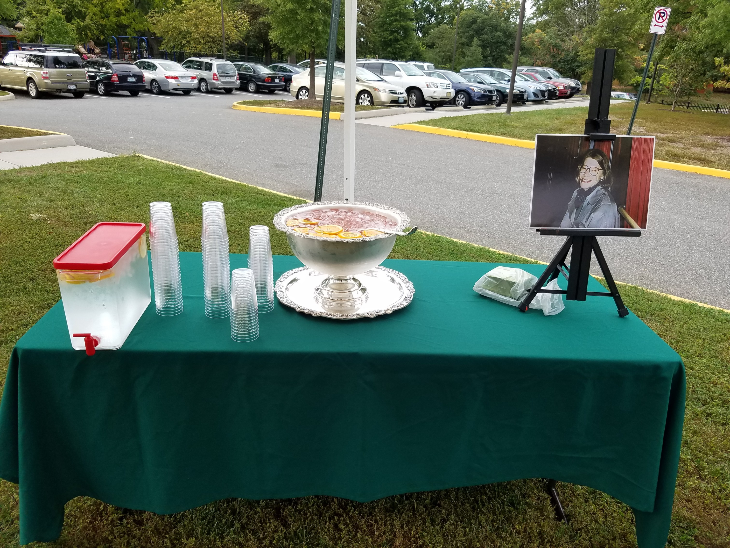 Tribute Bench Dedication Refreshments and portriait of Mary Newton