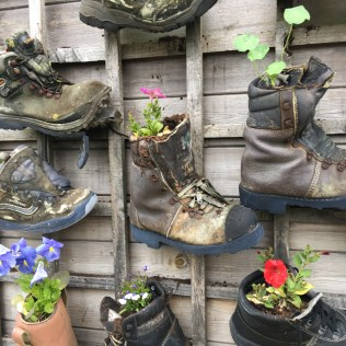 Old boots used as container gardens at Alnwick Castle, Northumberland, England Photo © 2019 Nancy Smith Brooks