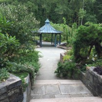 Benches installed in the gazebo and under arbors in the Fragrance Garden invite visitors to linger and enjoy the scented air.
