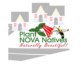 Plant NOVA Natives - Naturally Beautiful - logo with buildings
