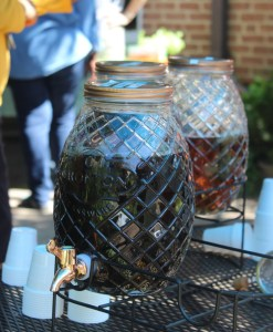 Herbal Teas in beehive jars at Glencarlyn Library Community Garden Autumnfest, 2019