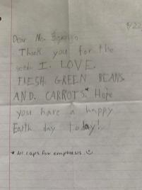Sweet letter from Lynn Berry's neighbor. Photo © Lynn Berry