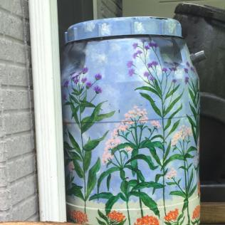 Rain barrels can be decorative elements in a garden