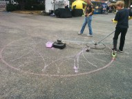 Other displays were for interacting with, like this Razor scooter-driven spirograph.