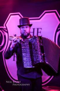 Accordionist Murray Grainger with the Captain of the Lost Waves