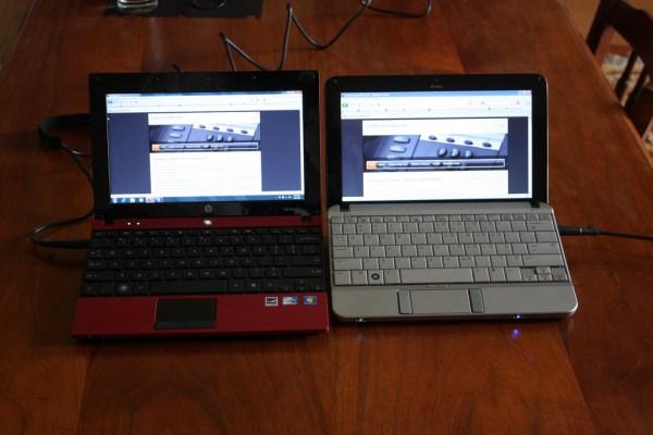 Twins of a sort: HP Mini 5102 (left) vs HP Mini 2140 (right)