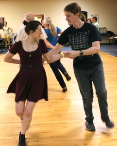 Catherine Howland, a USC student, and Joel Dettweiler paired up during one of the dances during the ContraCola dance on Feb. 18. Both are regulars to these dances.